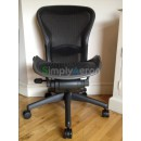Black Armless Classic Aeron Chair with Lumbar Support