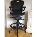 Black Classic Aeron Work Stool with Lumbar Support (Mk2)